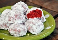holiday, velvet snowbal, red velvet, baking, cookies, snowbal cooki, christma, dessert, bake bite