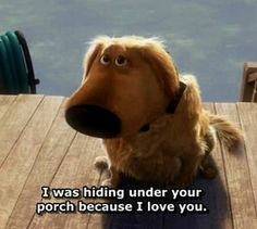 I was hiding under your porch because I love you. #Up