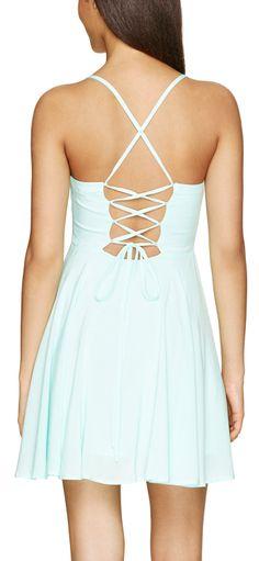 Mint lace up dress