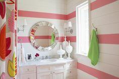 pink bathrooms, girl bathroom, traceri interior, bathroom vanities, striped walls, shower curtains, kids bath, kid bathrooms, bathrooms girls