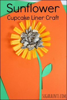 Sunflower Cupcake Liner Craft. This is a fun way to practice fine motor skills and scissor skills. From Sugar Aunts.