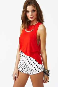 Deep Cut Tank in Red