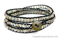 DIY Crystal Wrap Bracelet at www.happyhourprojects.com