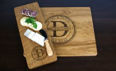 Personalized Engraved Gift Set - One Cutting Board and One Cheese plate -Christmas gift, Wedding Gift, Anniversary gift on Etsy, $57.00
