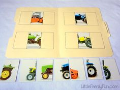 File Folder Games made with Flash Cards from Little Family Fun blog