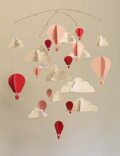 Hot Air Balloon Paper Mobile by HushHoneyCollective on Etsy