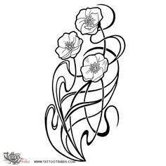 Art Nouveau flowers tattoo