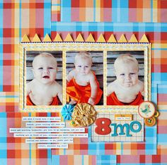 scrapbook .... I like how the paper is a layered pattern. Really fun.  Perfect for Deacons first year scrapbook birthday, layout idea, scrapbook layouts, 6 months, paper, background, scrapbook idea, desk layout, bold colors