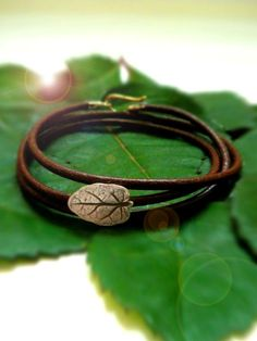 Leaf Bracelet Leather Wrap - Autumn Tiny Garden Leaf - Eco Friendly Recycled Silver