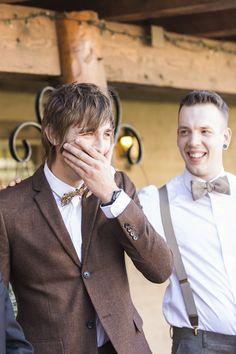 Sweet groom reaction photo by Rachel Solomon