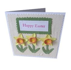 Daffodil  Happy Easter applique and quilled  card (green) £3.50