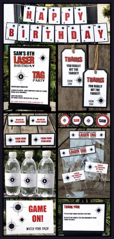 Laser Tag Birthday Party Decoration Package  INSTANT DOWNLOAD