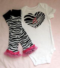 Baby Girl Zebra print onesie/bodysuit with ruffled leg warmers set with custom initial, heart, pink, white, black. $19.95, via Etsy.