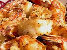 Carl Perkins Favorite Shrimp Recipe 5 pounds large shrimp (26-30) in shell; 2 large bottles Wish Bone ®Italian dressing; 1/4 cup lemon juice; 1/4 cup black pepper; 4 sticks melted margarine. Mix all ingredients and pour over shrimp. Bake 45 minutes at 350, stirring often. Serve with thick slices of French bread, baked potatoes and salad.