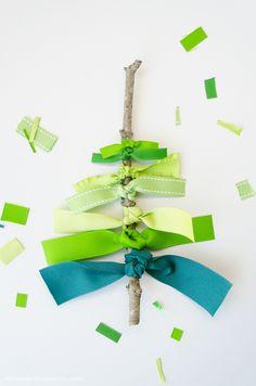 Ribbon Christmas Tree! via the RABOM blog Nice package topper, or card.