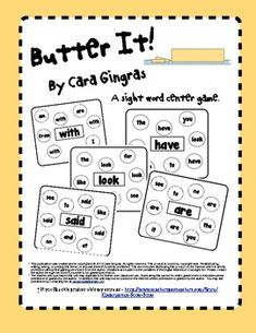 Butter It! - Sight Word Game - This is a game where students have to read a word then identify other words that are the same. $