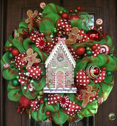 Deco Mesh GINGERBREAD HOUSE CHRISTMAS Wreath by decoglitz