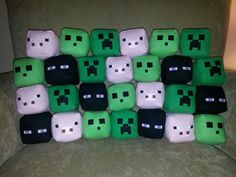 Handmade creepers, endermen, pigs, and slime for Minecraft birthday party