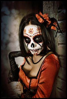 make up #sugarskull - this is one of the darkest ones I've seen. I am torn on if I want to be pretty or dark... orang, pretty sugar skull makeup, art, los muerto, catrina, dia de, de los, dead, black