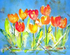 watercolor tulips--love these