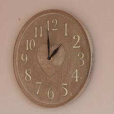 Grey Lime Wash Heart Centre Clock lime wash, centr clock, grey lime