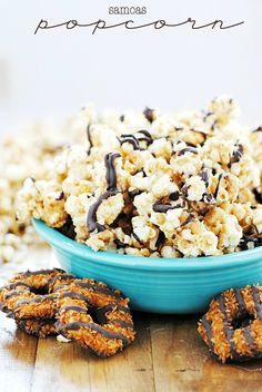 Samoas Popcorn | www.somethingswanky.com.  Use healthy GF cookies and my DIY chocolate chips.  Can't wait!