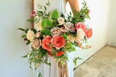Pretty as a peach. What a lovely color palette for a bridal bouquet. #wedding #herecomesthebride #weddingbells