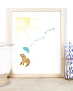 Here Comes the Sun Beatles Quote Music Sheet Elephant Animal Watercolor Nursery Baby Boy Kid Children's Room Gift Mint Blue Baby Boy, $12.00