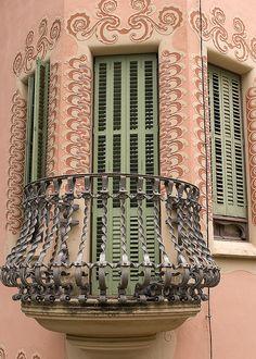 Balcony, Gaudi museum, Parc Guell, Barcelona, Spain