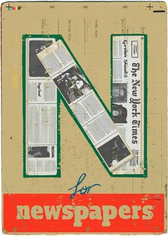N for Newspaper | Alphabet by Paul Thurlby. Candlewick, October 2011