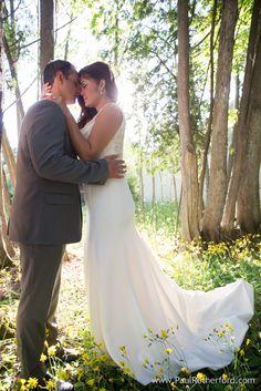 Mackinac Island Wedding Photo Bride Groom Northern Michigan yellow flower woods view Northern Michigan destination location #Bride #Groom #Love #MackinacIsland #NoMiWeddings #NorthernMichigan #Cute #Happy #Light #Forever #Marriage #PureMichigan