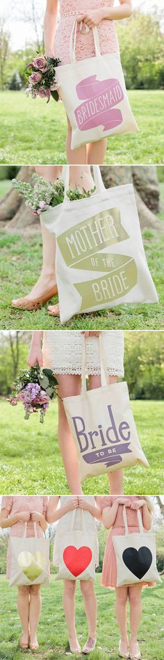Personalized totes! So cute! #bridesmaid #gift #idea wedding parties, gift ideas, bridesmaid gifts, the bride, gift bag, bridal parties, bridal party gifts, flower girls, tote bags