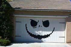 Huge Jackolantern Face Garage Decal for Halloween