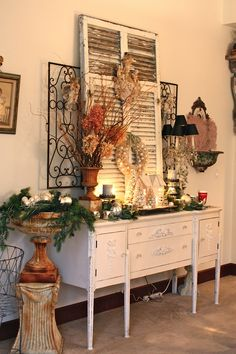 old shutters, decorating ideas, christma decor, cottage decorating, hous, porch decorating, christmas porch, christmas buffet, rustic cottage