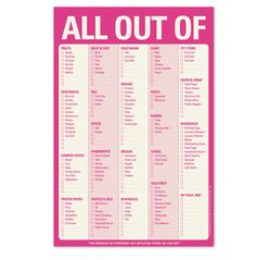 """""""All Out Of"""" Checklist"""