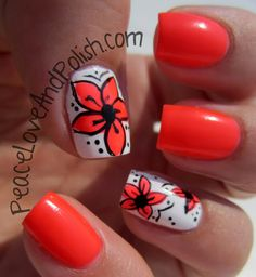 Nail Art Design: Neon Coral Flowers