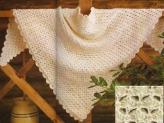 "Easy Triangular Shawl Materials: Sport Yarn 18 ozs, Crochet Hook Size F or 4.00 mm Finished Size Approx 78"" across top"