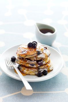 The antioxidants and phytochemicals found in blueberries help to neutralize free radicals, leaving skin looking younger and smoother.. Blueberry & Ricotta Hotcakes   #CreativeGourmet #recipe