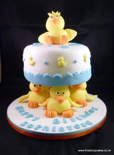 1) This is one of my cakes, made for a 16th Birthday. I could use this idea again but with rabbits instead of ducks. Maybe a big sparkly diamante 18 on the top.