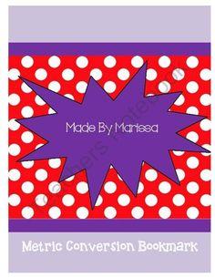 Metric Conversion Bookmark from marissasilva on TeachersNotebook.com -  (6 pages)  - a metric conversion manipulative