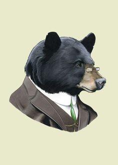 Black Bear art print 5x7 by berkleyillustration on Etsy, $10.00