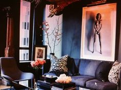 Bold and moody chic sleekblack, decor, interior, sleekblack room, accent black, live room, black rooms, design, dark wall