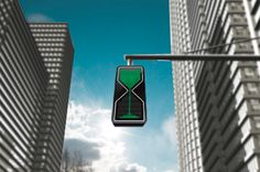 Traffic lights that act like a sand glass letting you know how much time is left.
