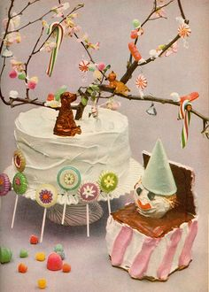 Am I delusional ... or is that an AIREDALE on the cake? - LOL - Confectionery filled 1950s birthday