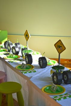 John Deere tractor party john-deere-tractor-party  ALSO...make TIRES from cruller donuts dipped in chocolate!!!