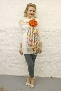 large crochet flower pin