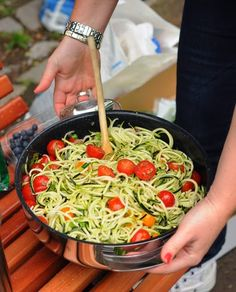 Zucchini Spiral 'Noodle' Salad, fresh, light, low-carb, gluten-free, paleo, vegan. Recipe, tips, nutrition, WW points at Kitchen Parade.