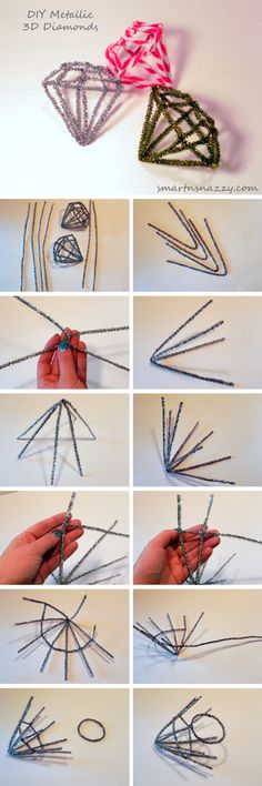 Smart n Snazzy: 12 DIYs of Christmas ~ Day 4 ~ DIY Metallic 3D Diamonds
