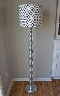 Free DIY tutorial for this faux glass bubble floor lamp using recycled plastic bottles and duct tape (I'm wondering if metal tape would work a little better?) dollar store makeover hack! matsutake: It's Done: The Glampsformation!
