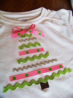 holiday, sew, idea, craft, christma shirt, ribbons, christmas shirts, christmas trees, kid